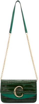 Chloé Green Croc C Chain Clutch Bag