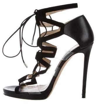 Jimmy Choo Lace-Up Cage Sandals