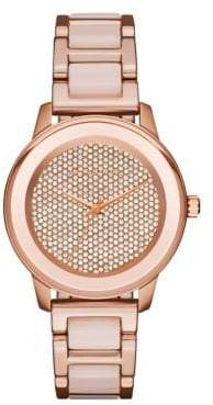 Michael Kors Kinley Rose Goldtone Stainless Steel Pave Crystal Dial Bracelet Watch