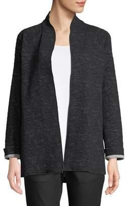 Eileen Fisher Ridged High-Collar Jacket, Petite