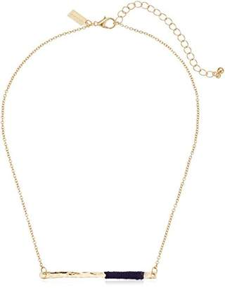 Canvas Gold Bar with Thread Wrapping Chain Necklace