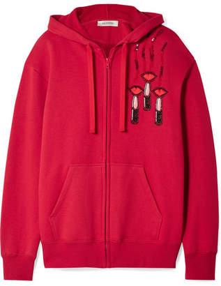 Valentino Embellished Appliquéd Cotton-blend Jersey Hooded Top - Red