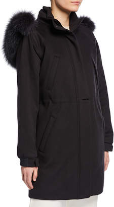 Loro Piana Icery Cashmere Storm System Ski Jacket with Fox Fur