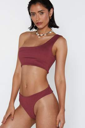 Nasty Gal Take a Dip One Shoulder Crinkle Bikini Set