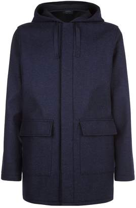 A.P.C. Hooded Wool Blend Parka Coat
