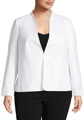 Liz Claiborne Long Sleeve Collarless Suiting Jacket- Plus
