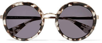 Prada Round-frame Acetate And Gold-tone Sunglasses