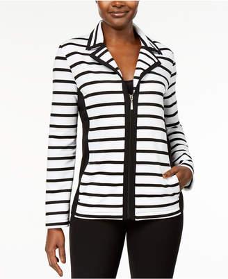 Karen Scott Petite Active Striped Knit Jacket, Created for Macy's