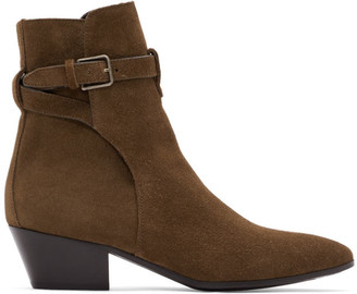 Saint Laurent Brown Suede West Jodhpur Boots