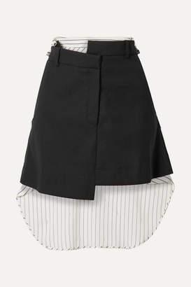 Monse Paneled Asymmetric Wool-blend Drill And Striped Cotton-voile Mini Skirt - Black