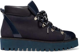 Ganni Alma Glossed-leather And Suede Platform Ankle Boots - Navy