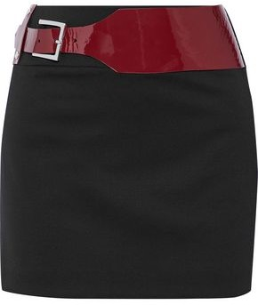 Versace Belted Stretch Wool-Twill Mini Skirt