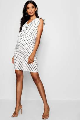 boohoo Maternity Hatti Polka Dot Tie Front Bodycon Dress
