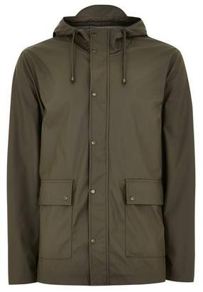 Topman Mens Khaki Showerproof Rubberised Jacket