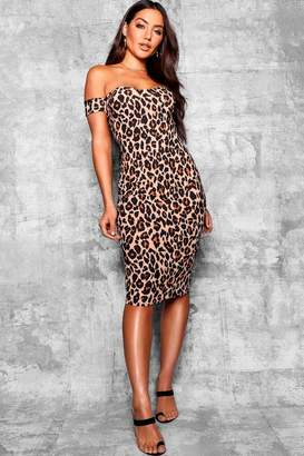 boohoo Leopard Off Shoulder Bodycon Midi Dress