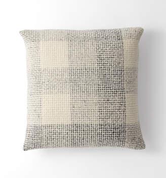 Rejuvenation Wool Plaid Tweed Pillow Cover - Gray