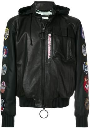 Off-White Temperature patch embellisheda hooded jacket