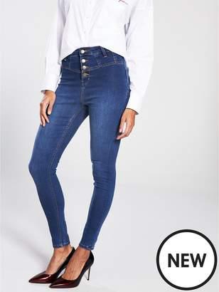 Very Addison Super High Waisted Corset Skinny Jean - Dark Wash