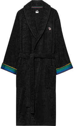 Paul Smith Stripe-Trimmed Cotton-Terry Robe - Black