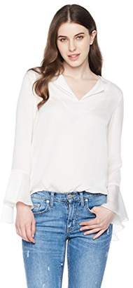 Essentialist Women's Solid Blouse with Collar Revers