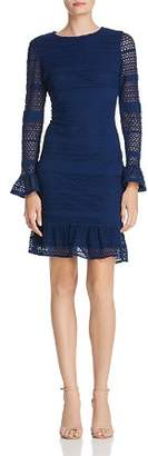 Adrianna Papell Knit Lace Bell Sleeve Dress