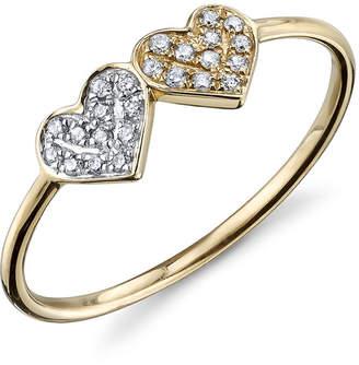 Sydney Evan 14k 2-Tone Gold Double Diamond Heart Ring