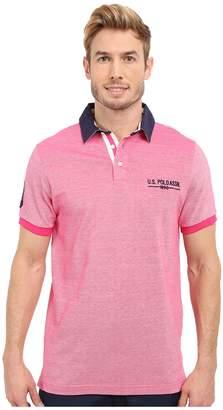 U.S. Polo Assn. Solid Pique Polo Shirt w/ Contrast Collar Men's Short Sleeve Pullover