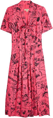 Burberry Antoniana Doodle Dress in Mulberry Silk
