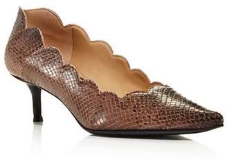 Chloé Women's Lauren Pointed Toe Snakeskin-Embossed Leather Kitten-Heel Pumps