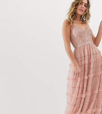 Needle & Thread cami strap embroidered maxi dress in rose pink