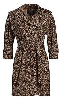 R 13 Women's Raglan Sleeve Leopard Print Trench