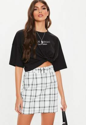 Missguided White Plaid Belted Mini Skirt