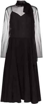 Valentino tie-neck silk midi dress