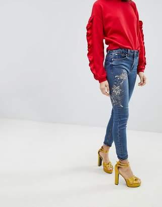 New Look Sasha Floral Embellished Skinny Jean
