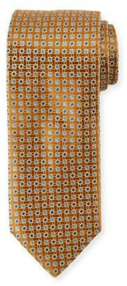 Canali Lattice Box Silk Tie, Gold Yellow