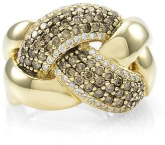 LeVian 14K Yellow Gold Pavé Chocolate Diamond Knot Ring Size 6