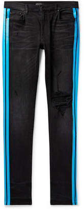 Amiri Broken Track Skinny-Fit Striped Distressed Stretch-Denim Jeans