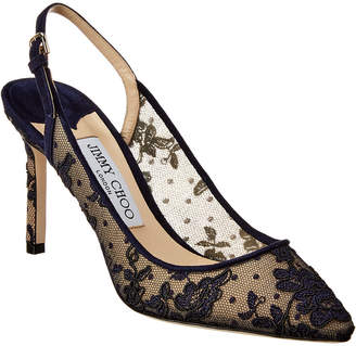 Jimmy Choo Erin 85 Floral Lace & Suede Slingback Pump