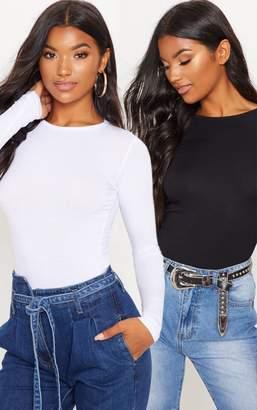 PrettyLittleThing Basic Black & White 2 Pack Long Sleeve Fitted T Shirt