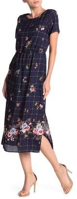 Everly Short Sleeve Border Print Midi Dress
