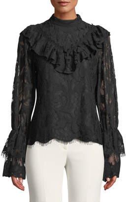 Lumie Lace Mock-Neck Bell-Sleeve Blouse