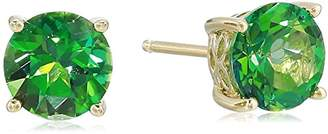 Rainforest Women's Yellow Gold Plated Sterling Silver Topaz Swarovski Stud Earrings