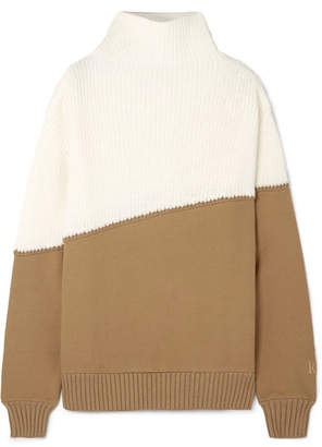 Kith - Two-tone Ribbed-knit And Cotton-jersey Sweater - Cream