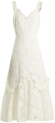 Rebecca Taylor Adriana laced-back broderie-anglaise cotton dress