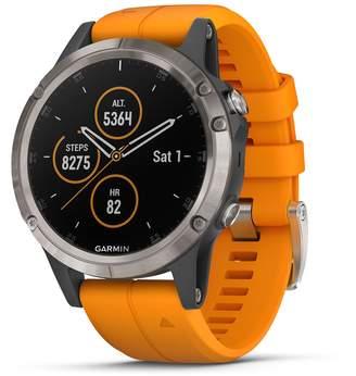 Garmin fenix 5 Plus Smartwatch (Sapphire Titanium with Solar Flare Orange Band)