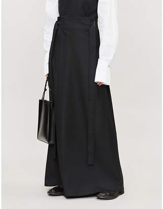 DANIEL POLLITT Belted wool skirt