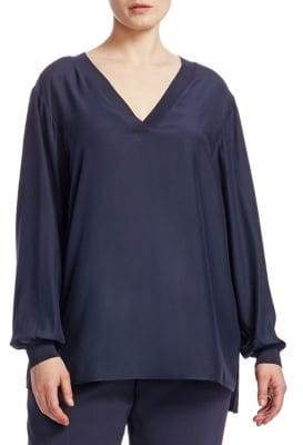 Lafayette 148 New York Lafayette 148 New York, Plus Size Wyatt Knit-Trim Silk Blouse