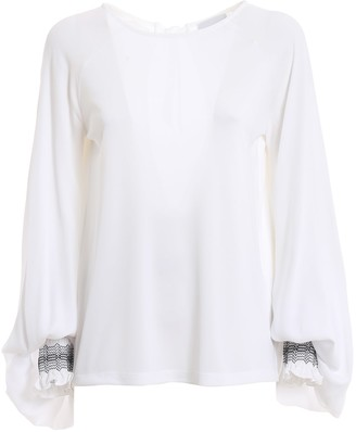 Dondup Embroidered Puffed Sleeve Blouse
