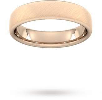 5mm Traditional Court Standard Diagonal Matt Finish Wedding Ring In 18 Carat Rose Gold