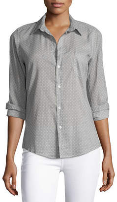 Frank And Eileen Barry Long-Sleeve Polka-Dot Shirt, Gray Dots